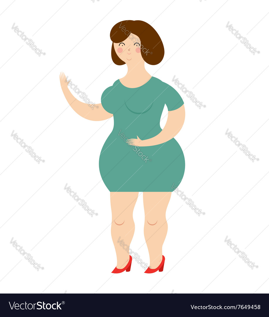 Woman in dress on white background Cheerful girl vector image