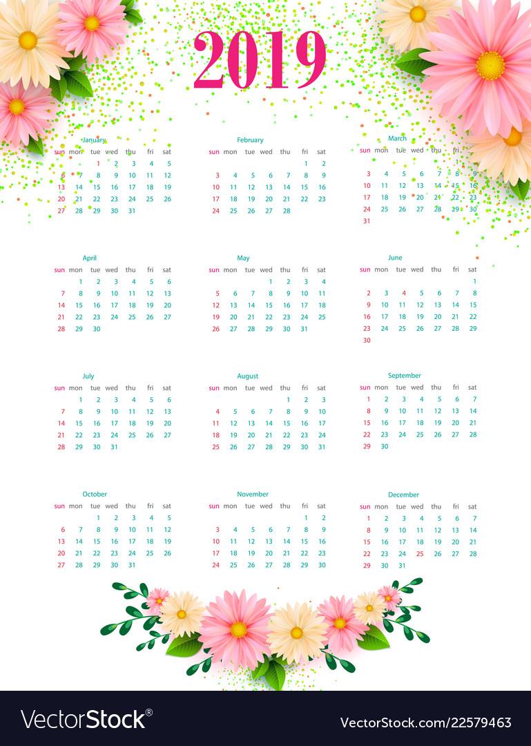 2019 calendar calendar modern design template