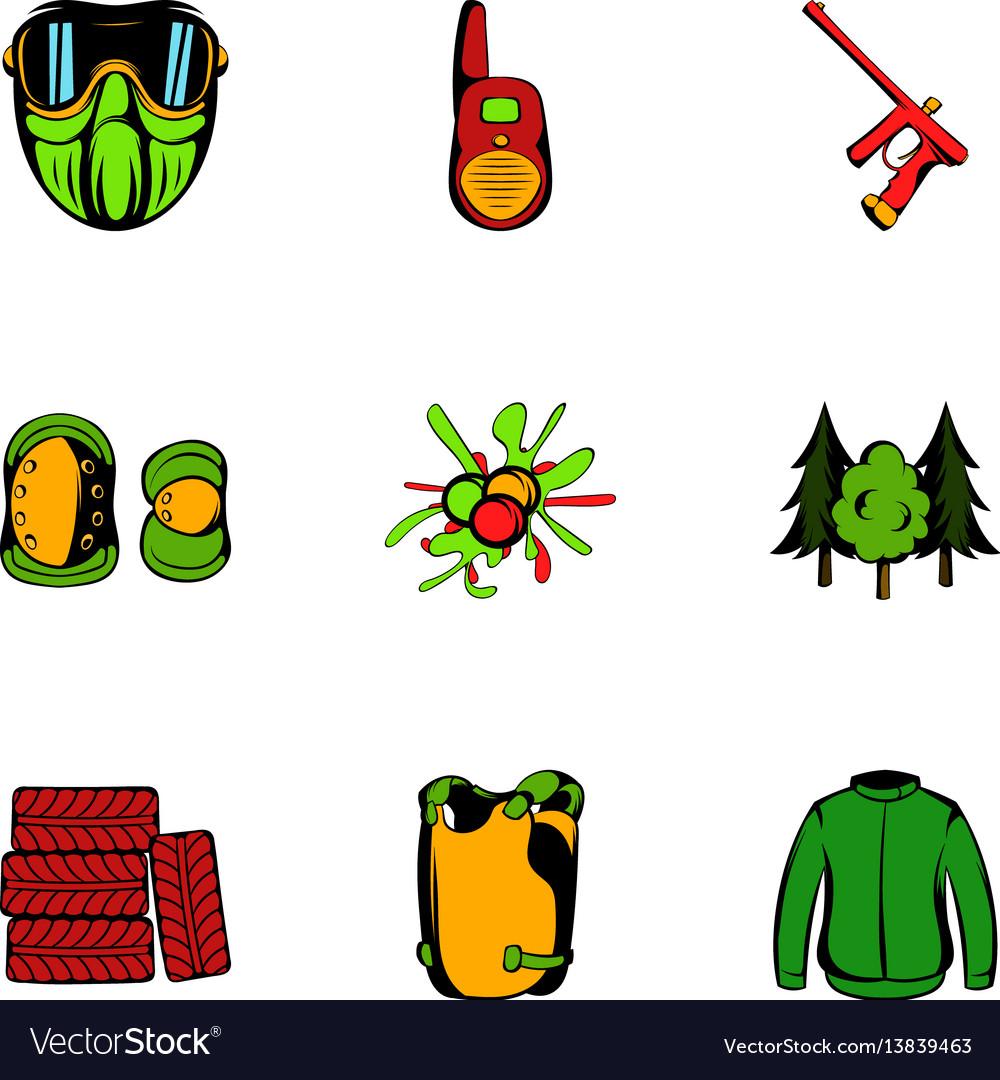 Action icons set cartoon style