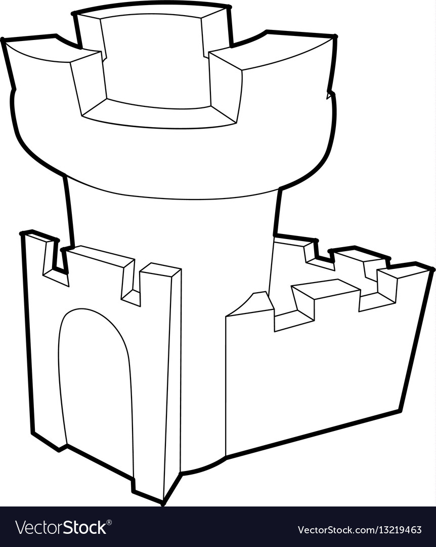Castle tower icon outline style