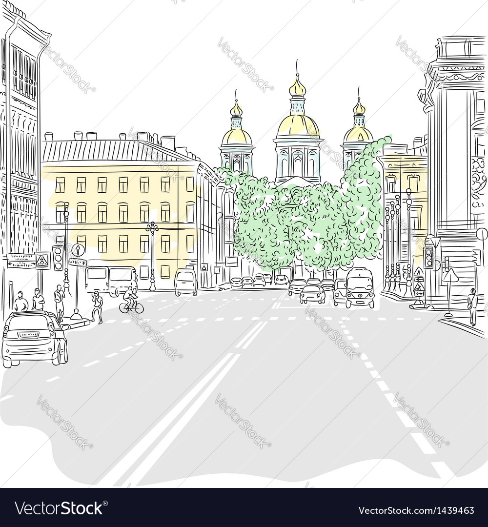 Cityscape the wide avenues vector image