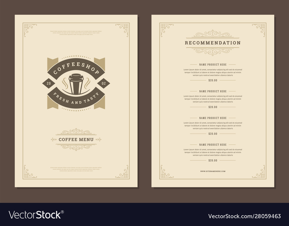 Coffee menu template design flyer for cafe with