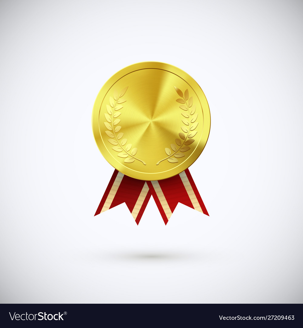 Golden medal red ribbon gold award symbol of
