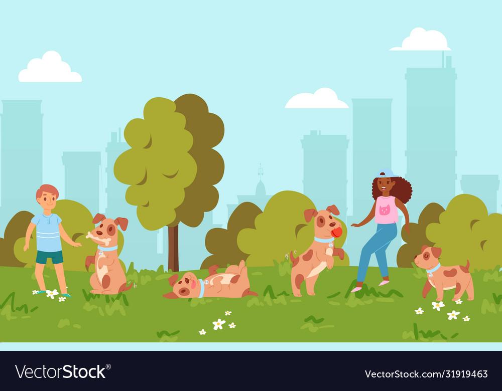 In summer children play puppy in park friendship
