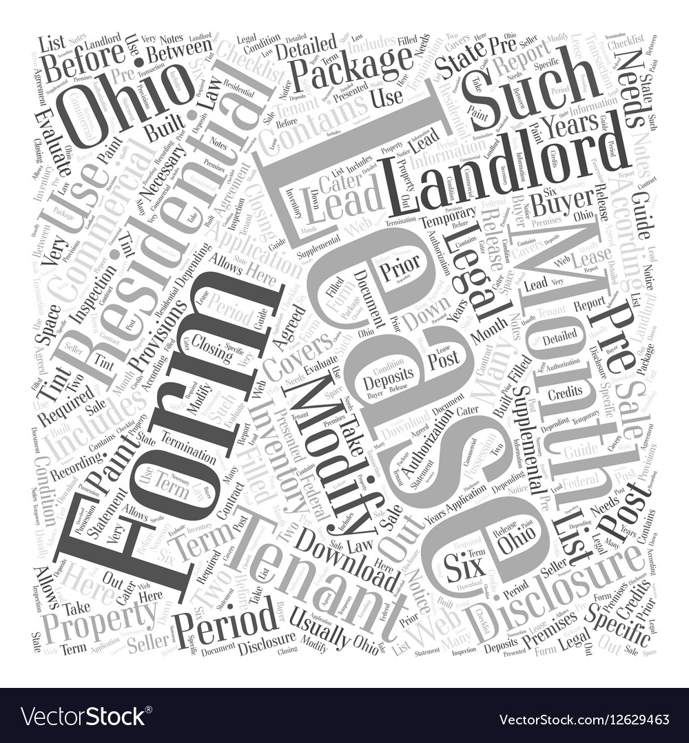 Legal Forms For Landlords In Ohio Word Cloud Vector Image - Where to buy legal forms