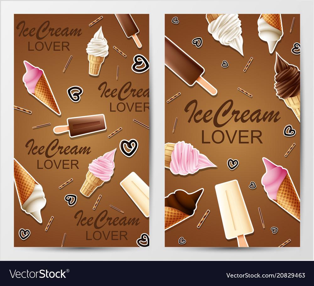 Love ice cream banners vector image