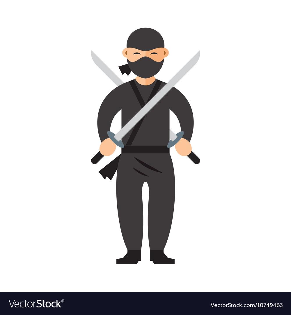 Ninja Flat style colorful Cartoon