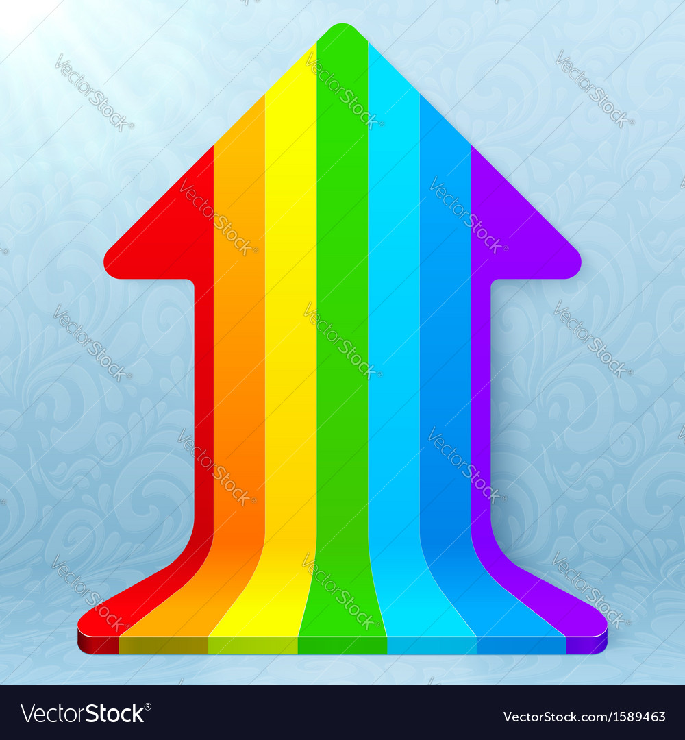 Rainbow stripes realistic plastic up arrow