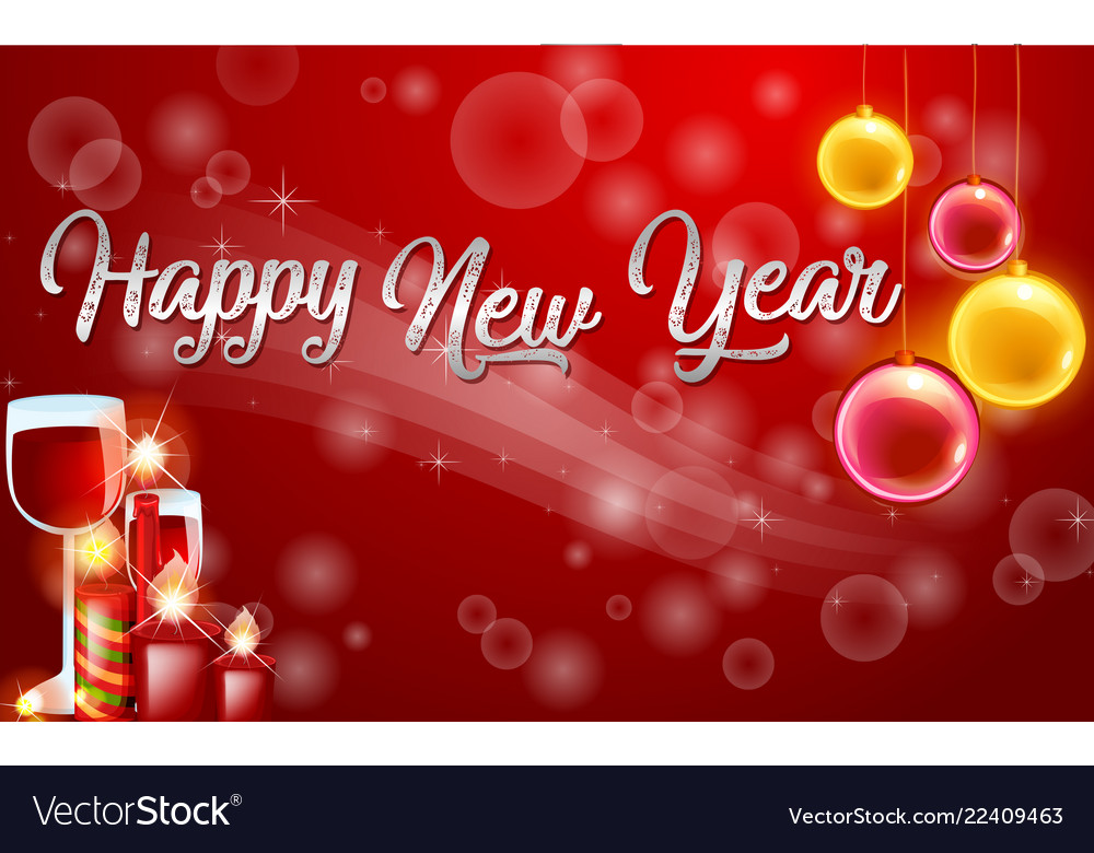 Red Hy New Year Card Template Vector Image