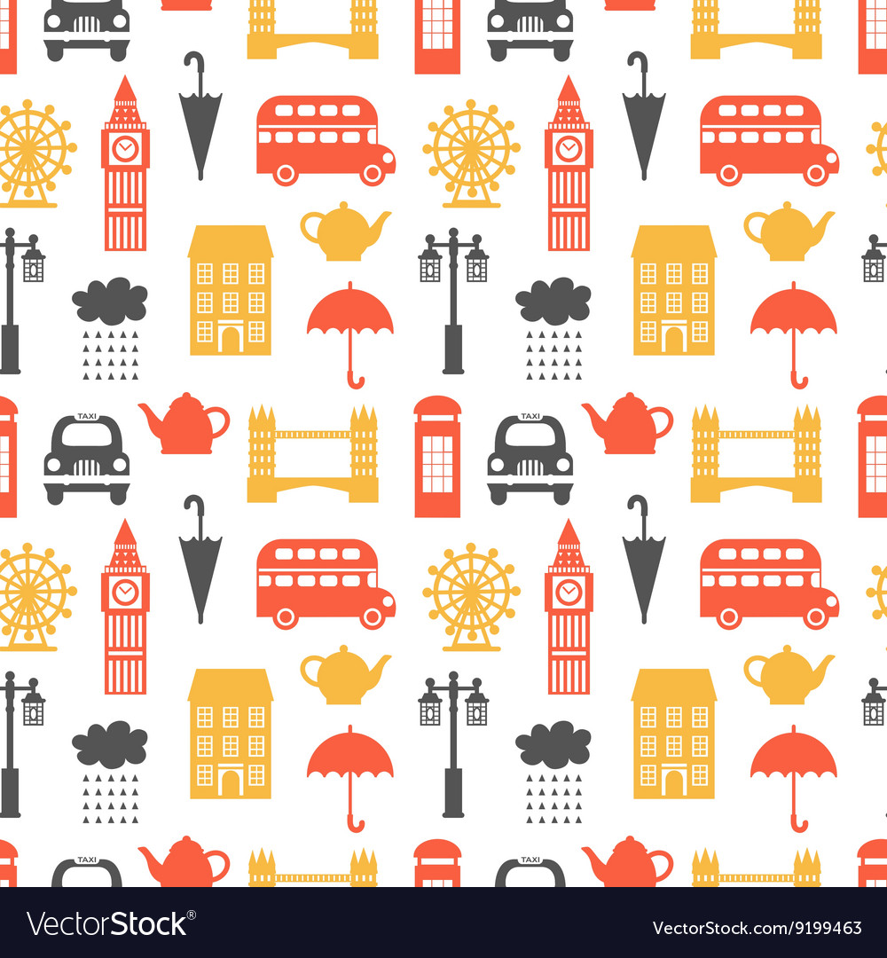 Seamless pattern with London symbols