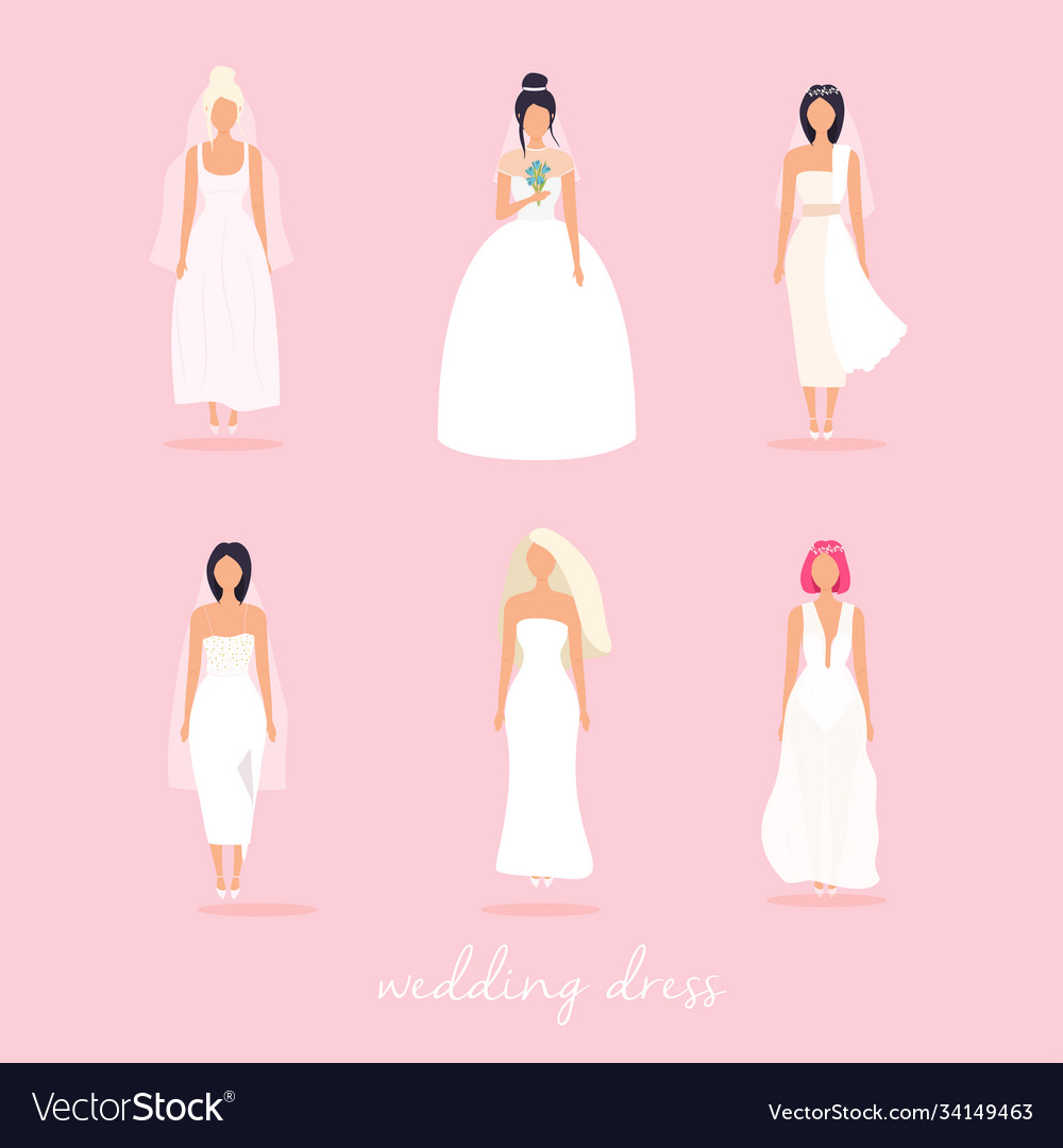 Set women in wedding dresses in different