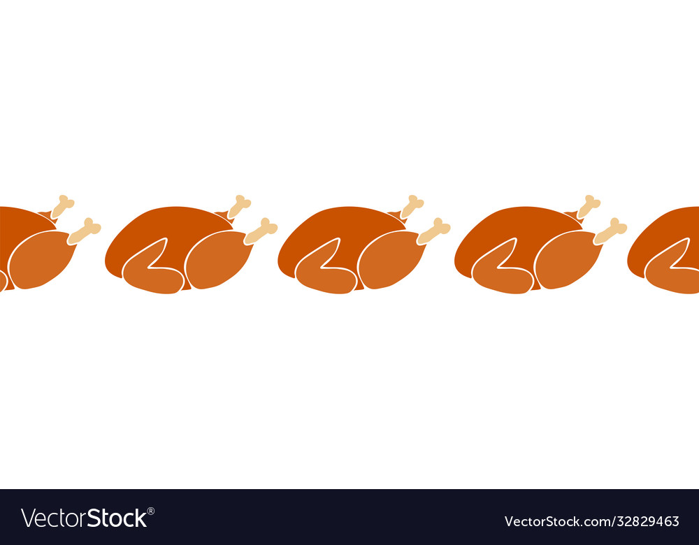 Thanksgiving roasted turkey seamless horizontal vector