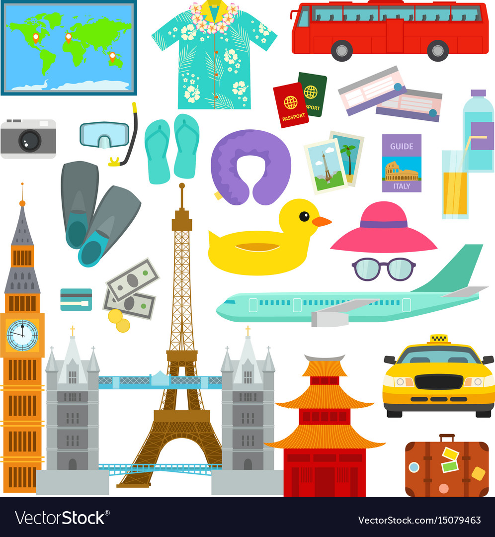 Travel time summer vacation symbols in flat