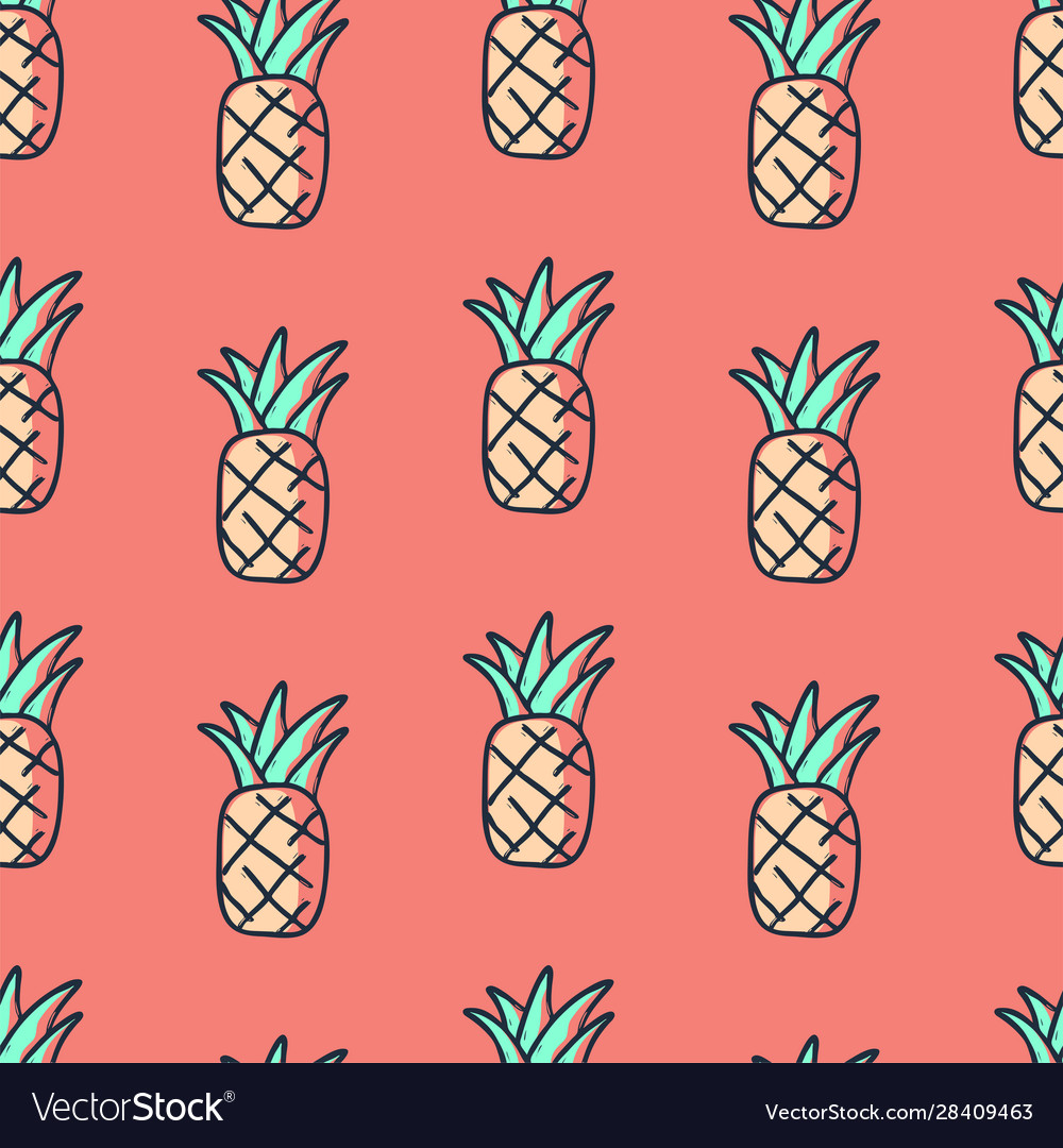 Tropical cute hand drawn doodle pineapple