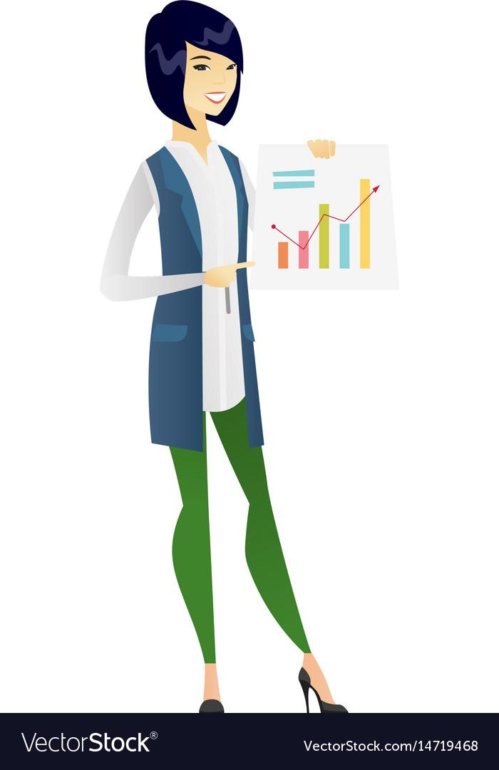 Asian business woman showing financial chart