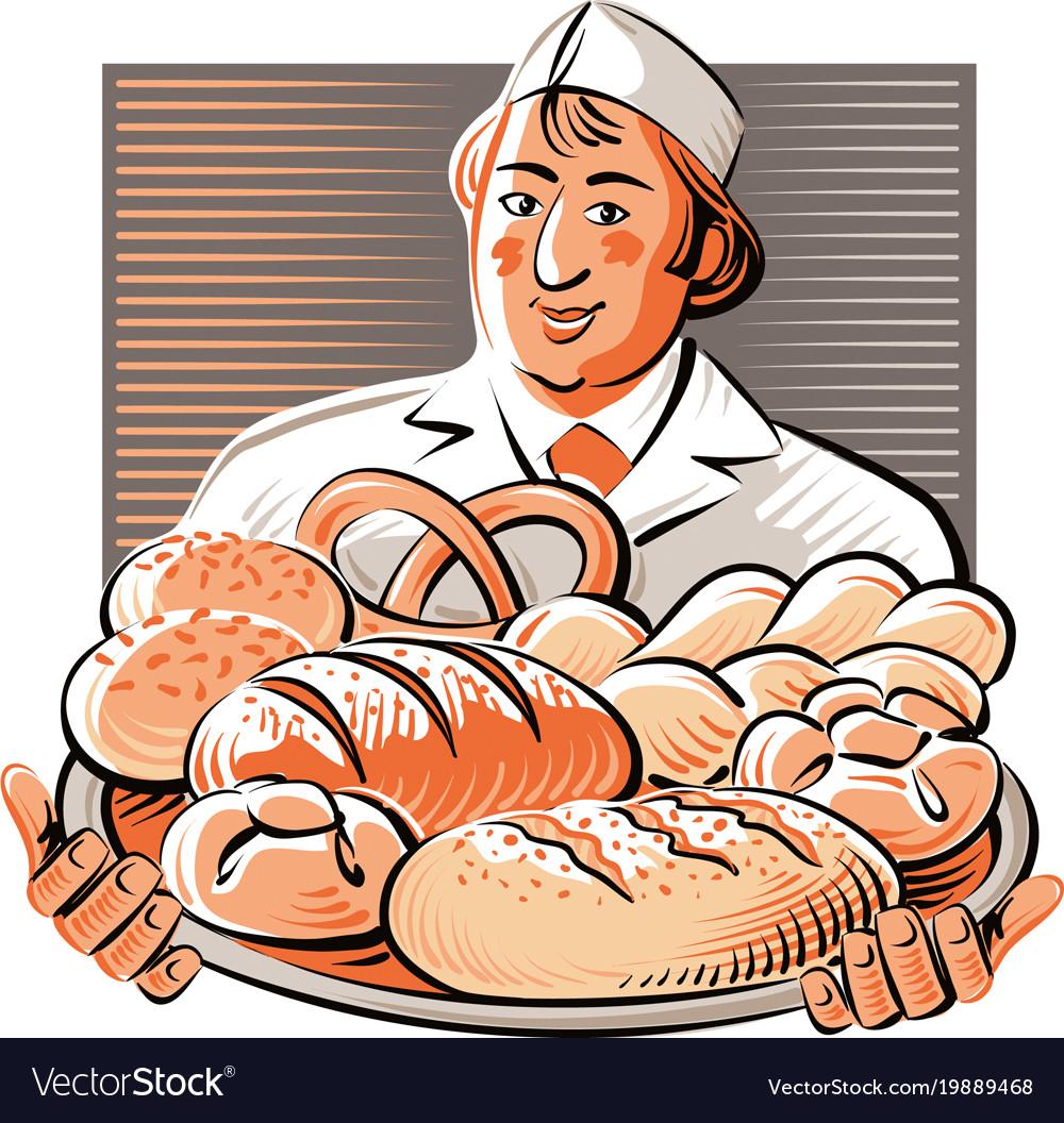 материал рисунок пекарь с хлебом приготовить изысканную горячую