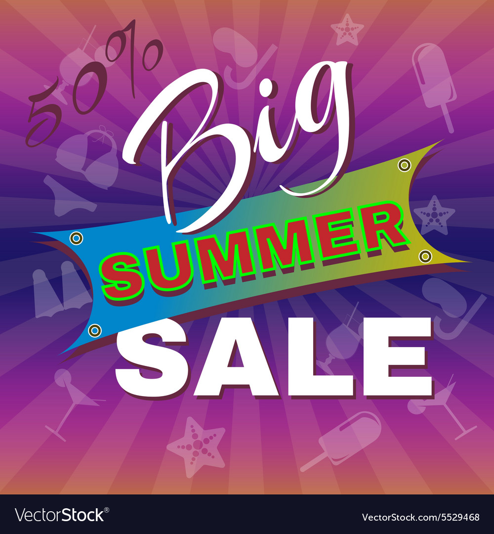 big summer sale promotion flyer royalty free vector image