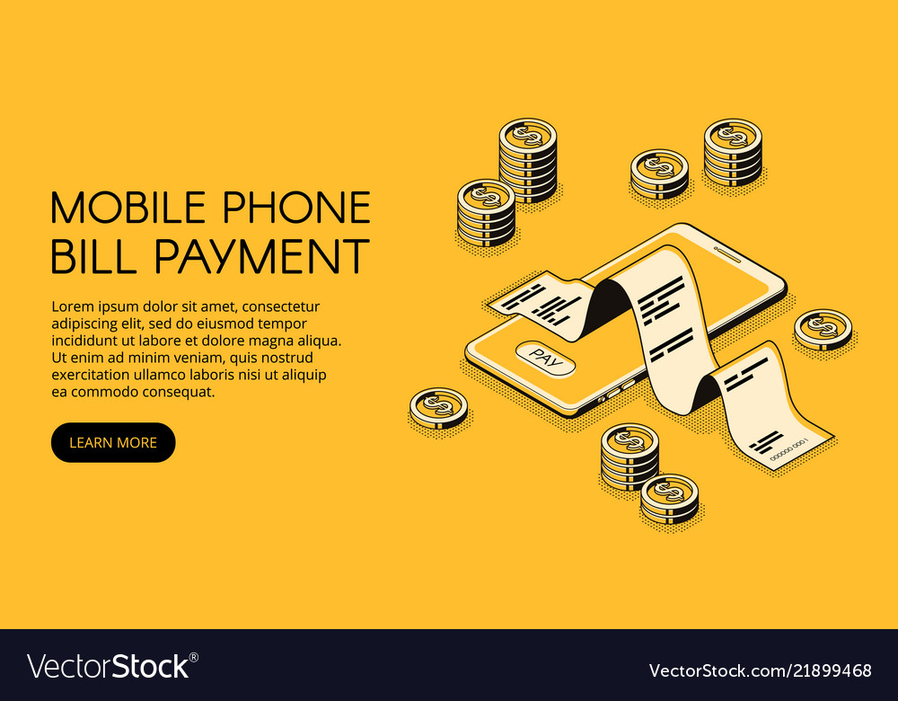 Bill mobile payment isometric