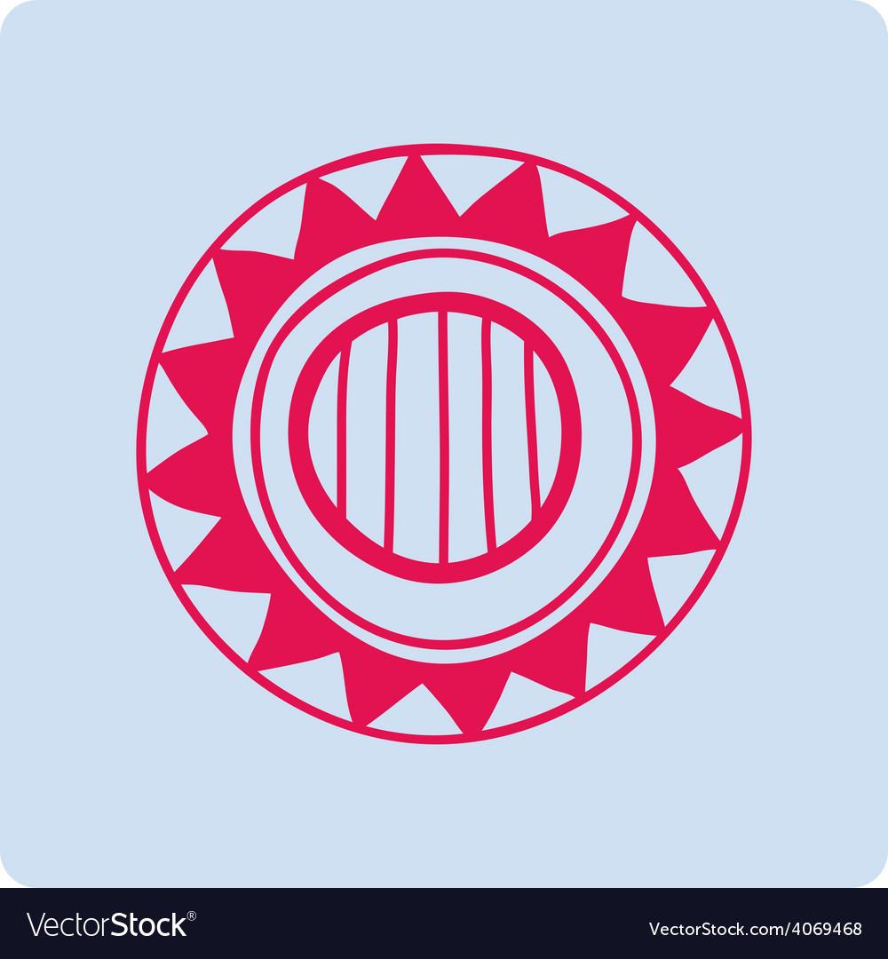 Celtic circular geometric floral pattern on a blue