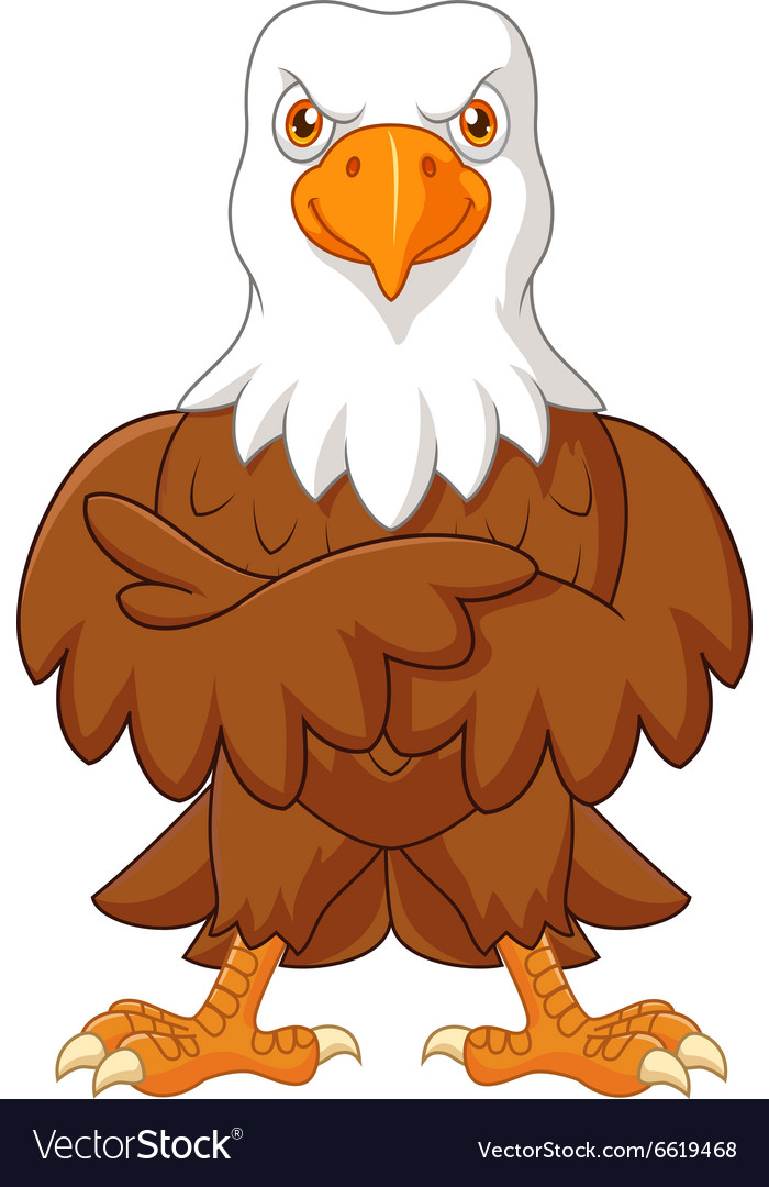 Cute eagle cartoon posing isolated