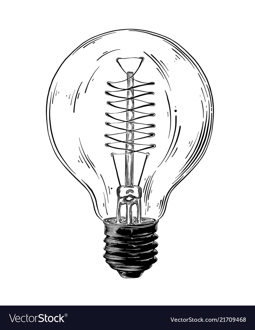 Hand drawn sketch of lightbulb in black isolated