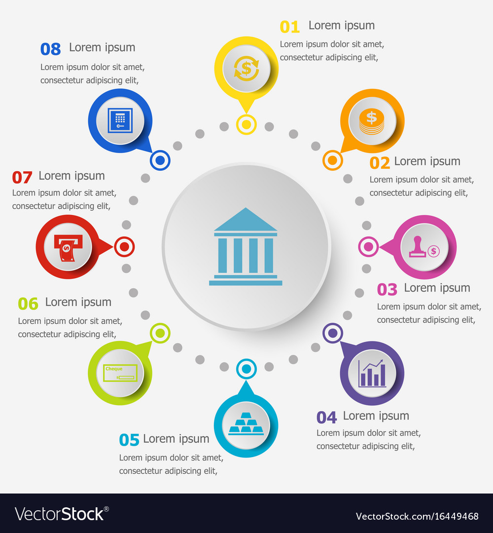 Infographic Template | Infographic Template With Banking Icons Royalty Free Vector