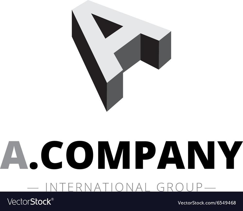 Isometric monochrome A letter logo Company