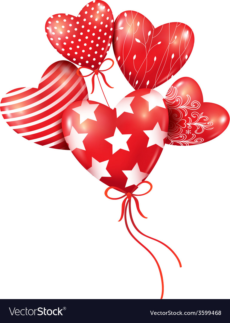 Red hearts-balloons in the blue sky
