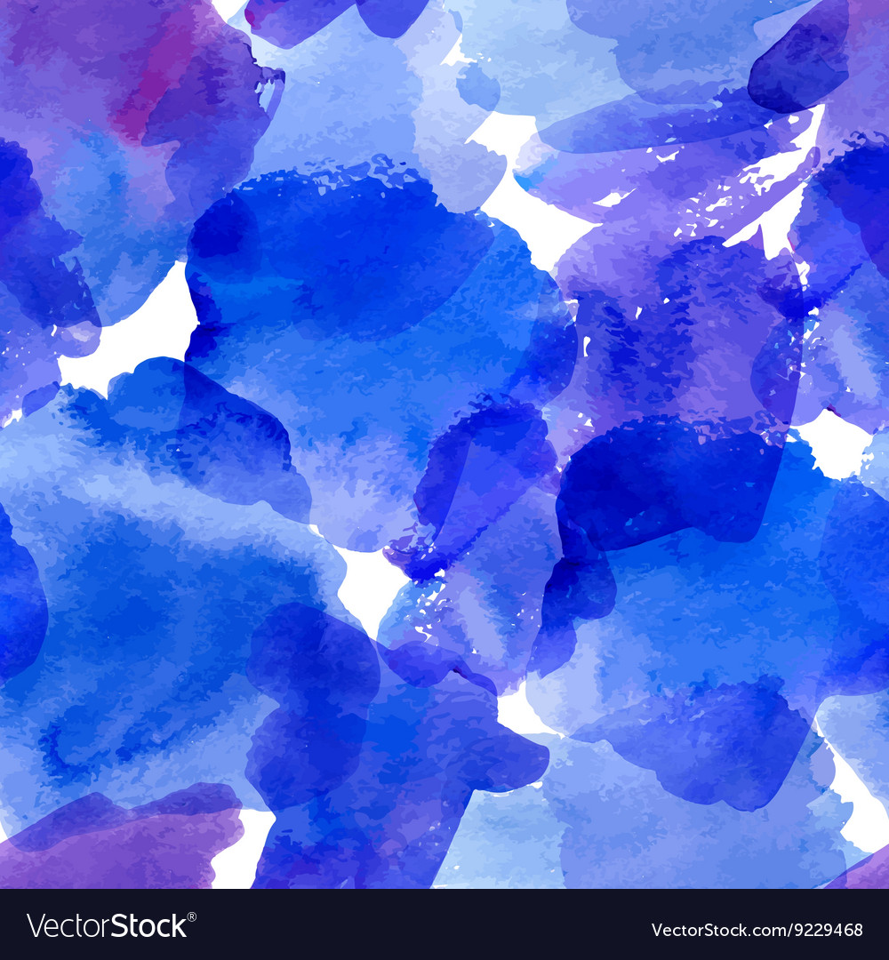Seamless pattern with blue watercolor stains