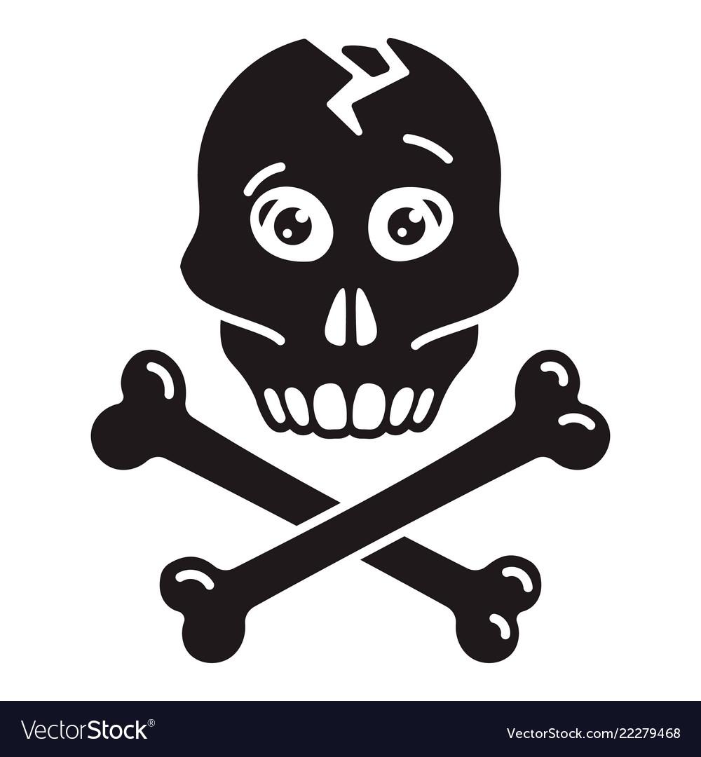 Skull bone icon simple style