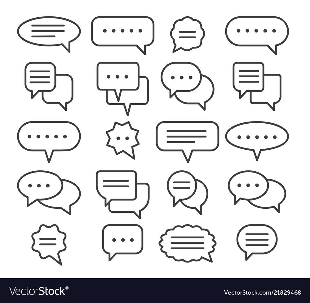 Thin line speech bubble icons