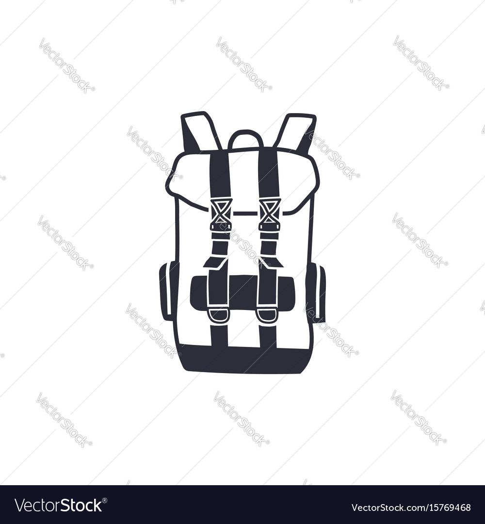 Vintage hand drawn backpack shape in monochrome