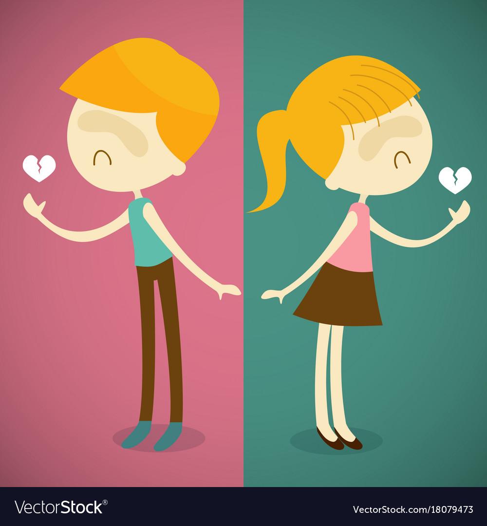 Boy And Girl Broken Heart Royalty Free Vector Image
