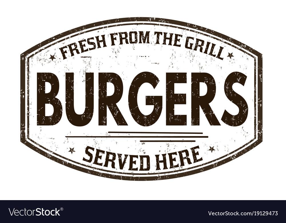 Burgers grunge rubber stamp