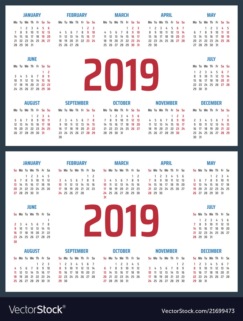 Calendar for 2019 starts sunday and monday