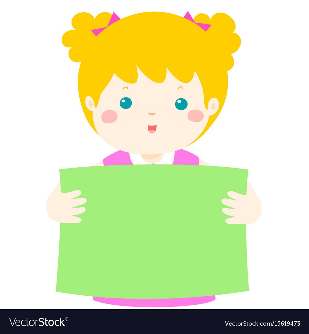 Cute Girl Holding Blank Banner Vector Image