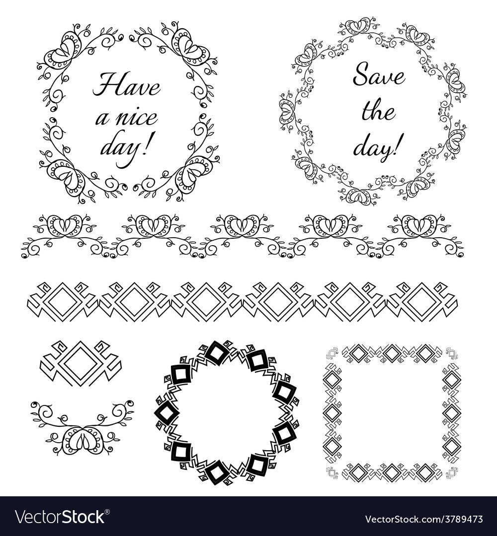 Decorative vintage frames and design elements