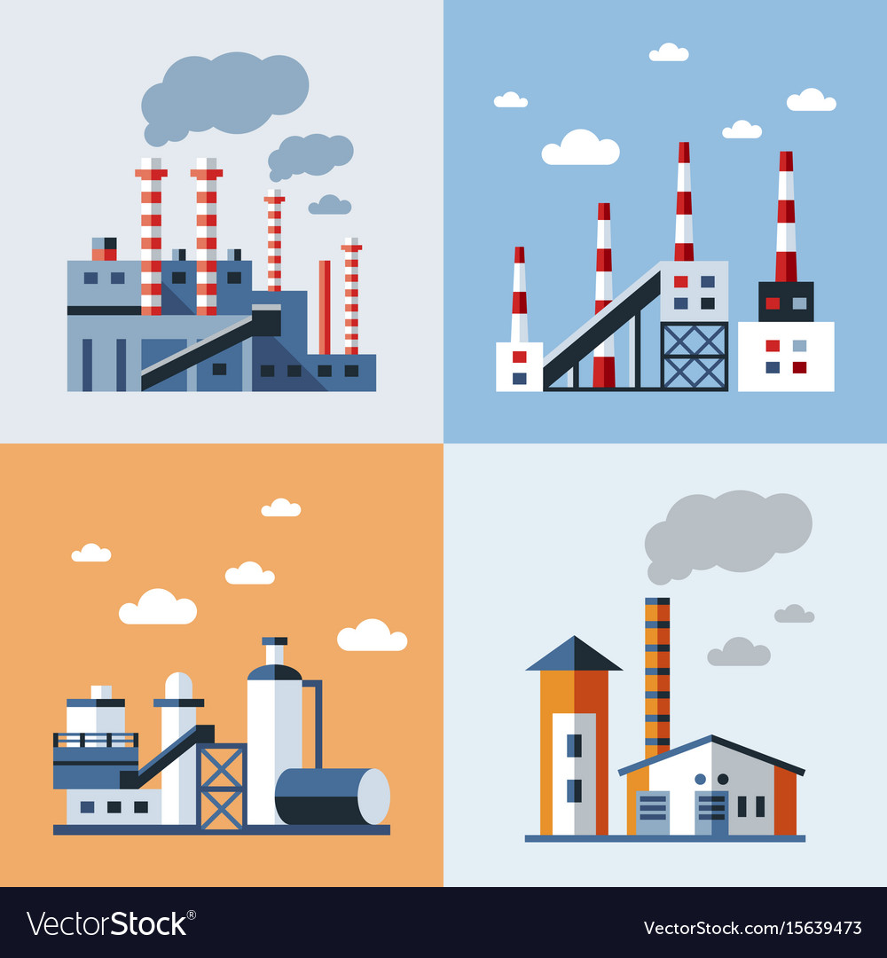 Digital blue factory pollution