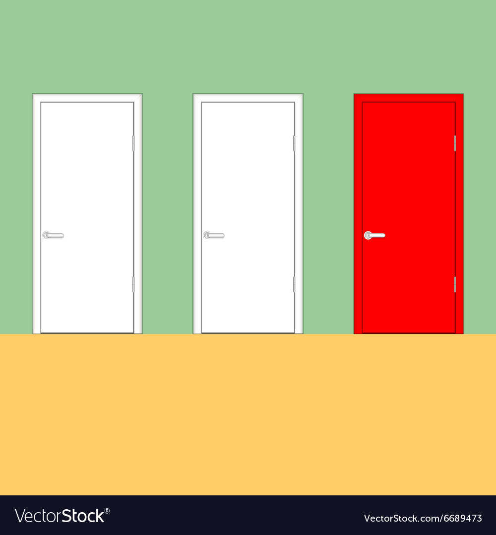 Doors on a green wall