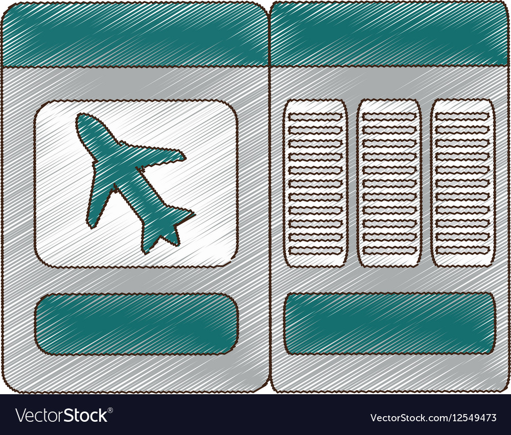 drawing ticket airplane travel royalty free vector image