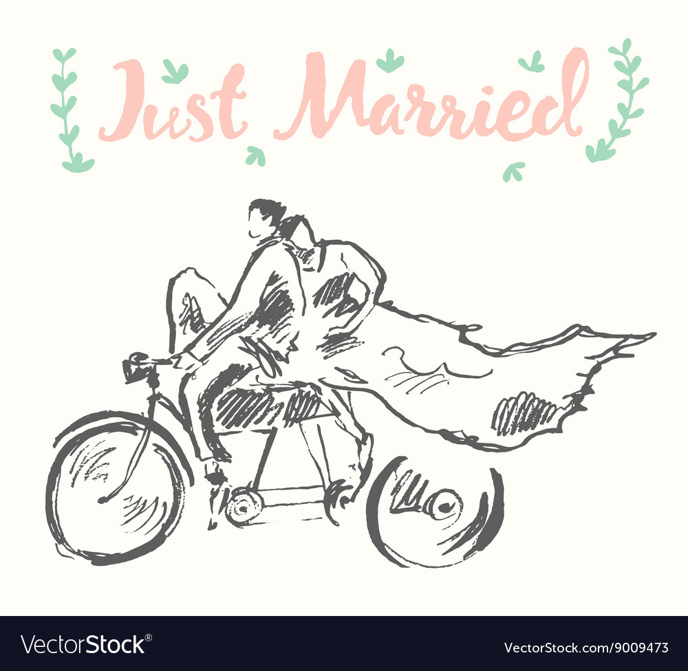 Drawn happy bride groom bicycle sketch