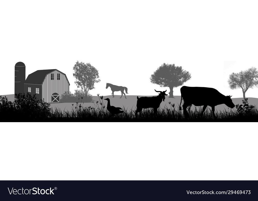Farm animals silhouette on beautiful rural