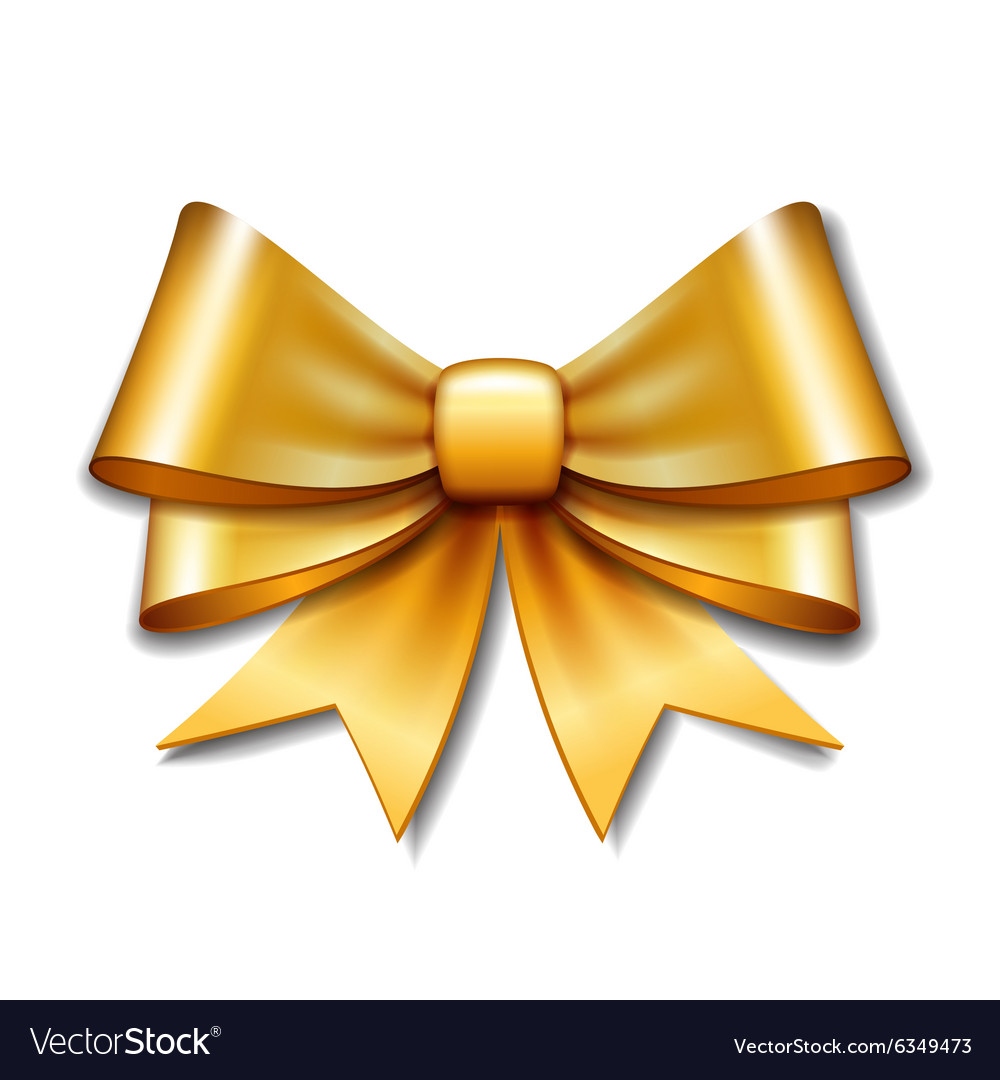 golden gift bow on white background royalty free vector