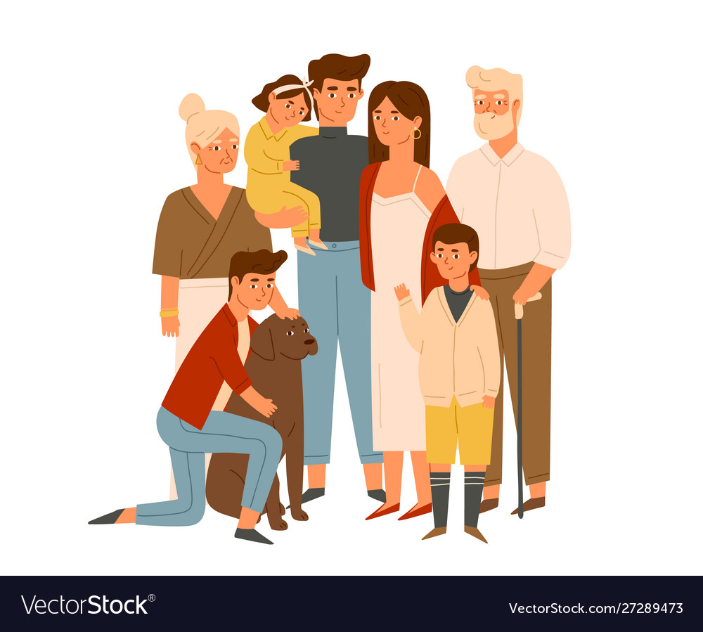 Happy big family together flat wife