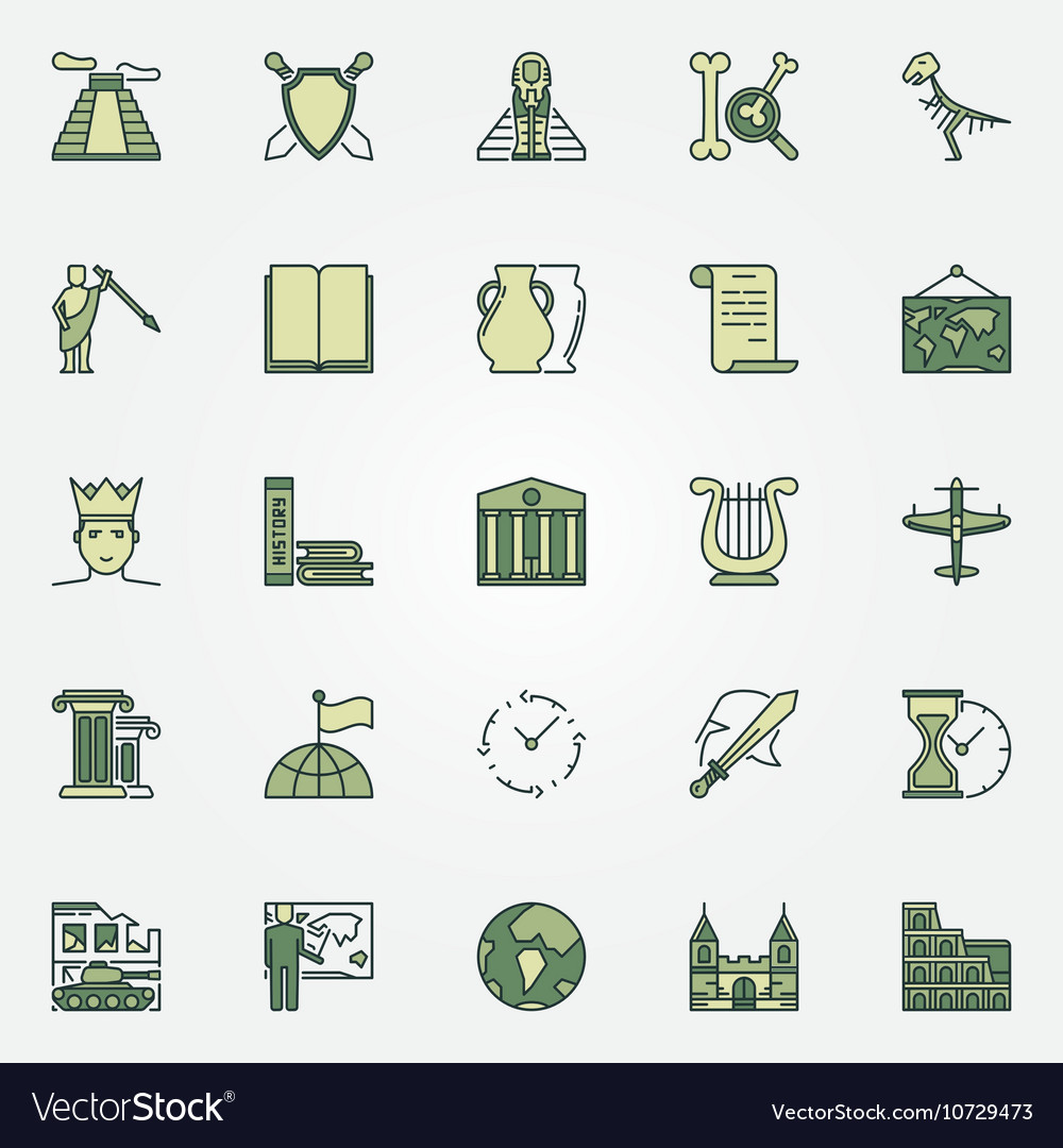 History colorful icons vector image