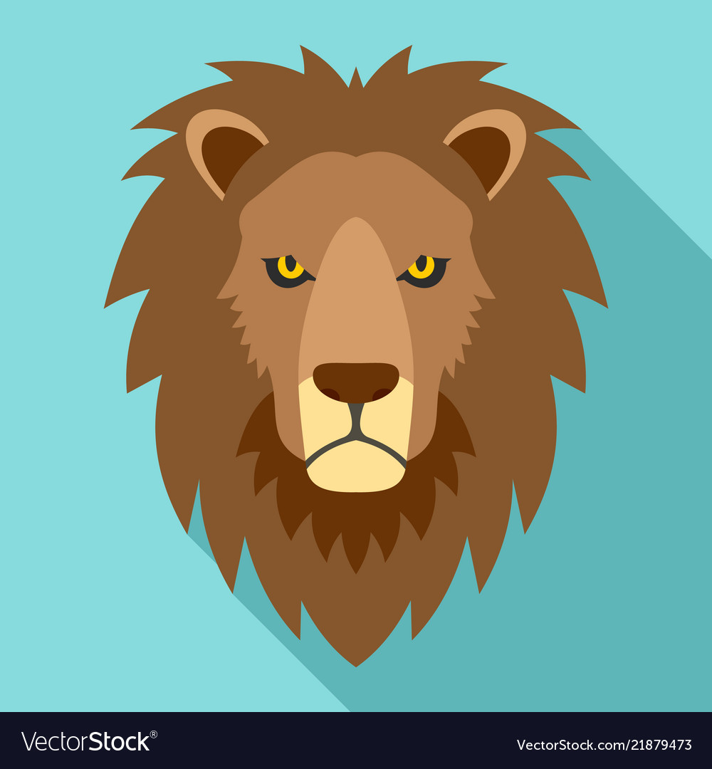 Lion head icon flat style