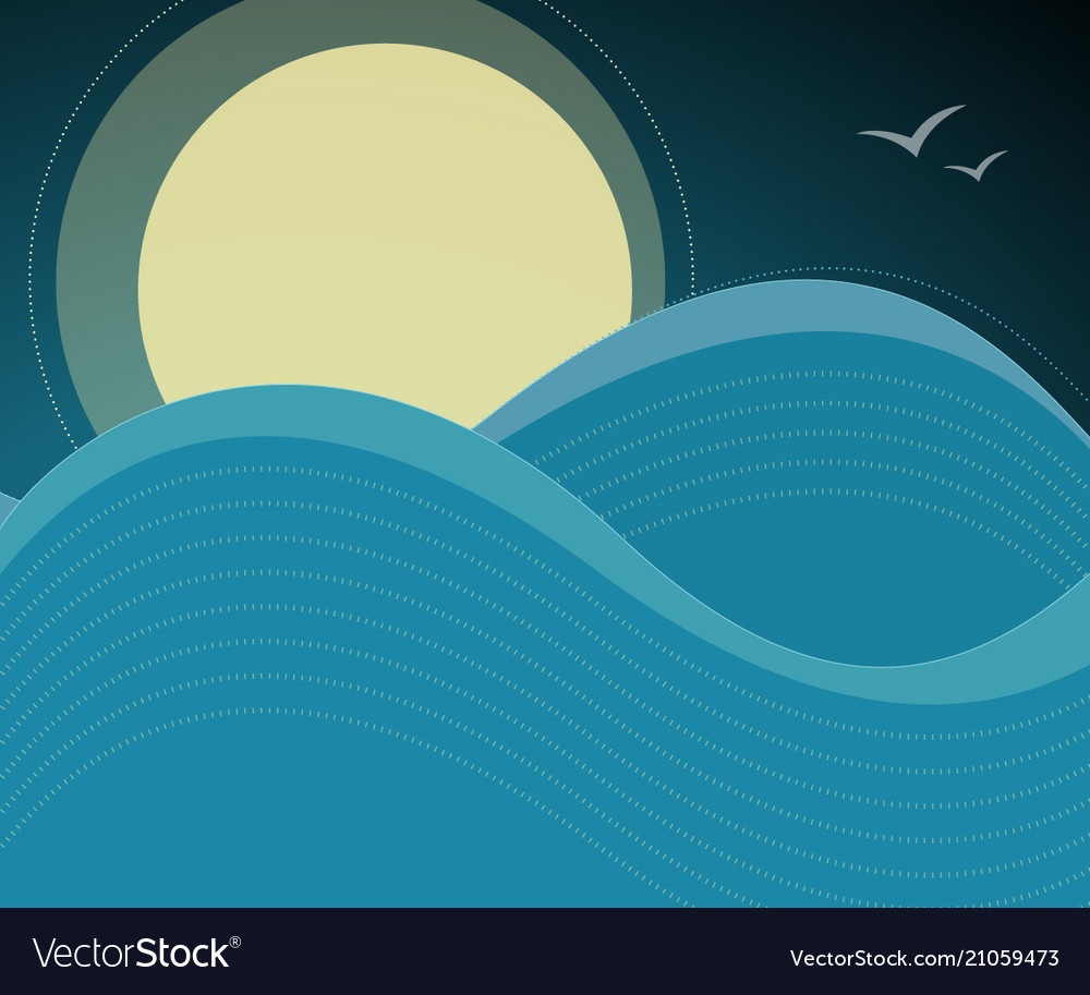 Night sky birds and ocean waves background