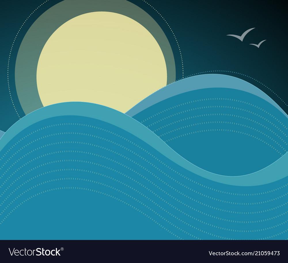 night sky birds and ocean waves background vector image