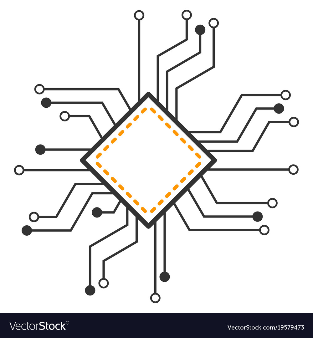 Processor Circuit Flat Icon Royalty Free Vector Image Diagram
