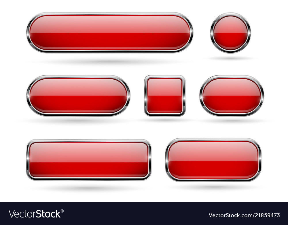 Red glass buttons with chrome frame 3d icons